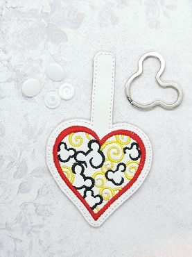 Mr Mouse Hearts Snaptab / Keyfob Embroidery Design