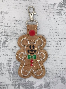 Mr Mouse Gingerbread Snaptab / Keyfob Embroidery Design