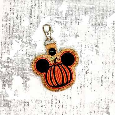 Mr Mouse Thanksgiving Pumpkin Snaptab / Keyfob Embroidery Design