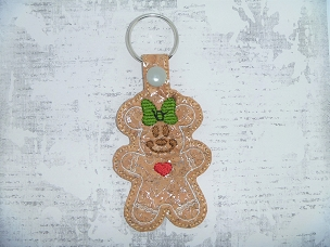 Mrs Mouse Gingerbread Snaptab / Keyfob Embroidery Design