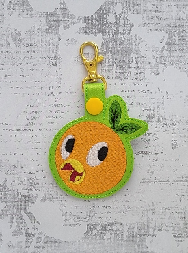 Florida Orange BIrd Snaptab / Keyfob Embroidery Design