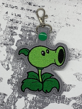 Peashooter Snaptab / Keyfob Embroidery Design