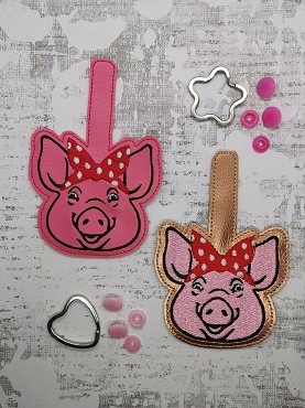 Pig Face with Handkerchief Snaptab / Keyfob Embroidery Design (filled and outlined)