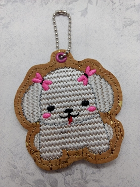 Poodle Puppy Snaptab / Keyfob Embroidery Design