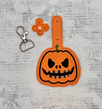 Pumpkin with Braces Snaptab / Keyfob Embroidery Design