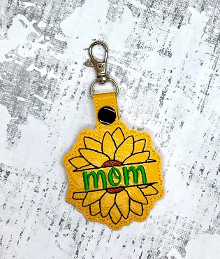 Mom Mum Split Sunflower Snaptab / Keyfob Embroidery Design