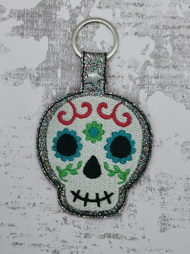 Sugar Skull Face Snaptab / Keyfob Embroidery Design