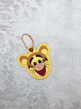 Bouncy Tiger Face Snaptab / Keyfob Embroidery Design