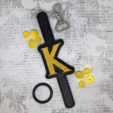 Letter K HP Font Water Bottle Holder Embroidery Design