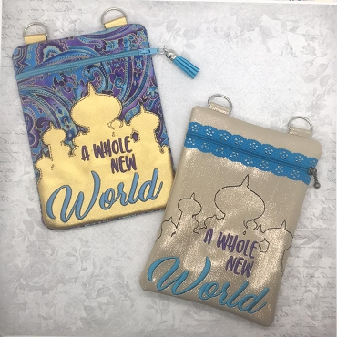 New World Zipper Bag Embroidery Design (lined)