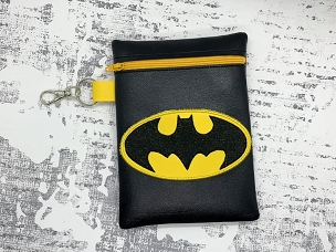 Batman Logo Zipper Bag Embroidery Design (5x7)