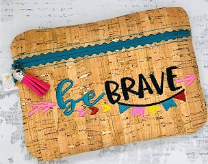 Be Brave Zipper Bag Embroidery Design (unlined, 5x7)
