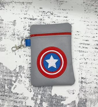 Captain America Logo Zipper Bag Embroidery Design (5x7)