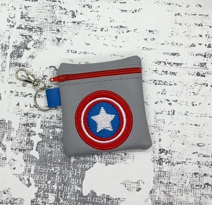 Captain America Logo Zipper Bag Embroidery Design (4x4)