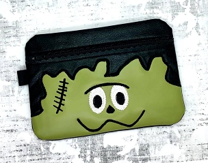 Frankensteins Face Zipper Bag Embroidery Design (unlined, 5x7)