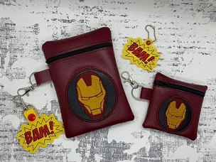 Iron Man Zipper Bag Embroidery Design (4x4)