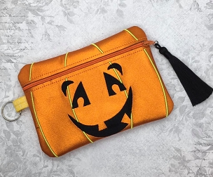 Pumpkin Face Zipper Bag Embroidery Design (unlined, 5x7)