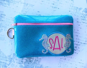 SeaHorse Monogram Zipper Bag Embroidery Design (5x7)