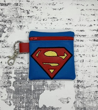 Superman Logo Zipper Bag Embroidery Design (4x4)