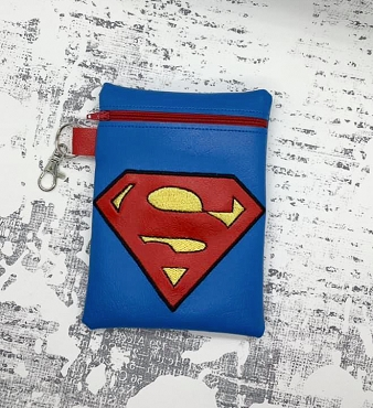Superman Logo Zipper Bag Embroidery Design (5x7)