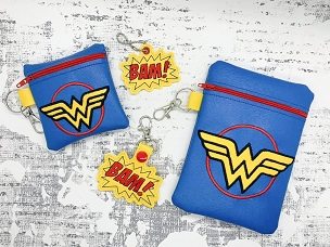 Wonder Women Zipper Bag Embroidery Design  (5x7)