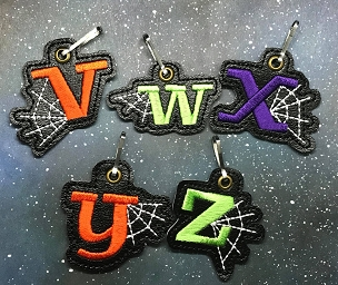Letter A-Z with Web Zipper Pull Embroidery Design (complete set)
