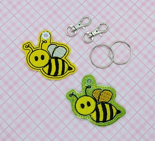 Bee Flying Zipper Pull Embroidery Design