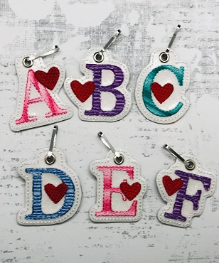 Letters with Heart Zipper Pull Embroidery Design
