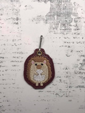 Hedgehog Zipper Pull Embroidery Design