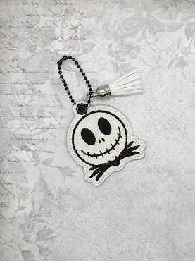 Mr Skeleton Face Zipper Pull Embroidery Design