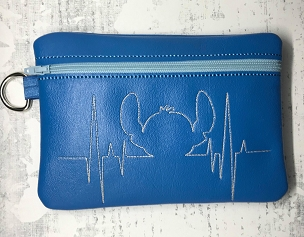Stitch Heartbeat Zipper Bag Embroidery Design (5x7, UNLINED)