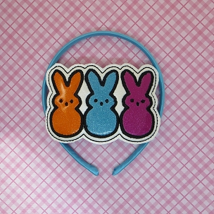 Peep Bunnies Headband Slider Embroidery Design