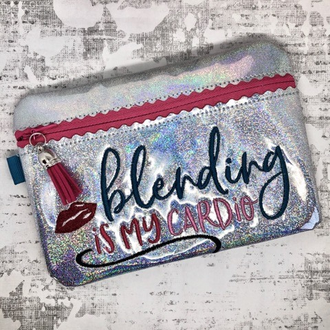 Blending is My Cardio Zipper Bag Embroidery Design