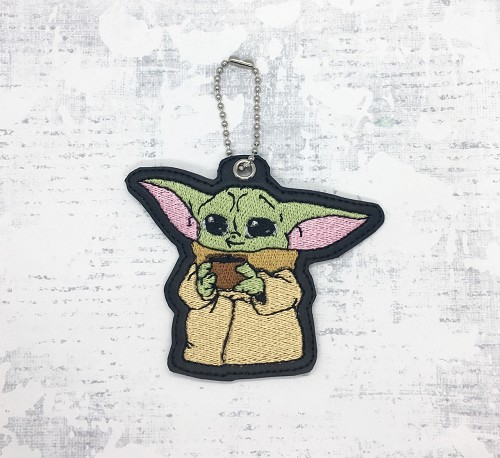 Yoda with Coffee KeyFob Embroidery Design