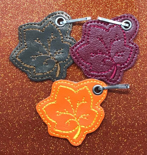 Fall Leaves Zipper Pull Embroidery Design